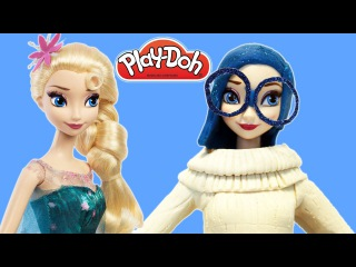 Play Doh Frozen Queen Elsa Cosplays as Inside Out Sadness