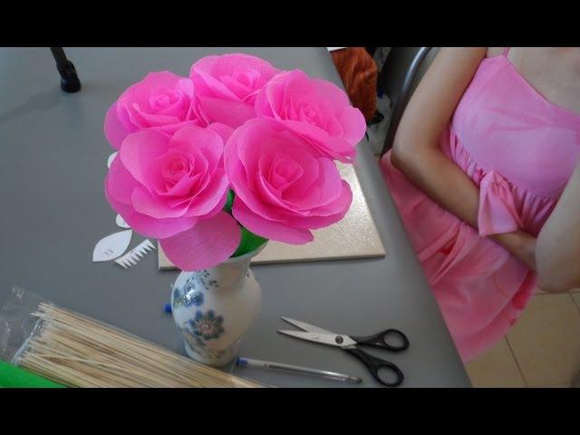 ♥ Розы из Гофрированной Бумаги. Поделки из бумаги своими руками ♥ DIY Flower Rose