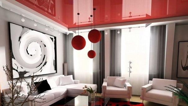 Потолок для гостиной с установкой СПб