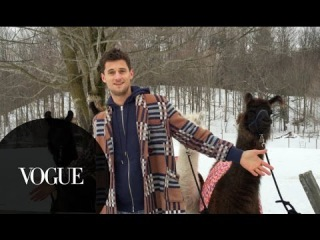 Watch What Happens on a Vogue Photo Shoot with Llamas and Male Model Garrett Neff