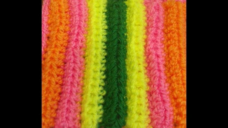 Прямоугольный коврик крючком. Как связать коврик. Коврик крючком. (striped rug crochet)
