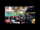 сбор фанатов у автобусов после матча Кубань- ЦСКА