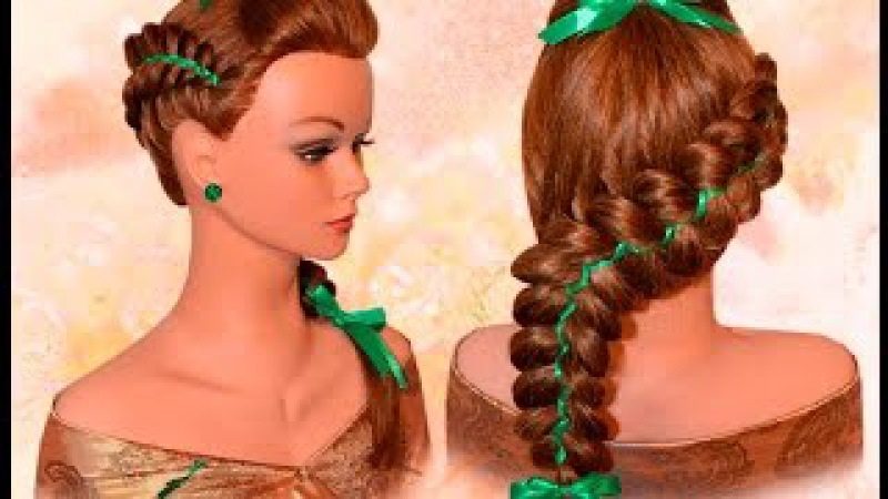 Пятипрядная объемная коса с лентами Voluminous braids with ribbons Hairstyle to schoo Kapralova Olga