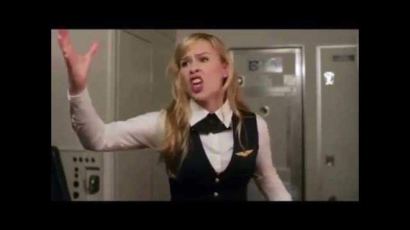 Стюардесса рассказывает тупым пассажирам, почему надо выключать электронные приборы на борту самолёт
