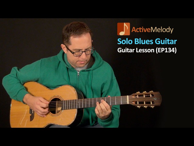 Solo Blues Guitar lesson with jazzy chords Played with a pick EP134