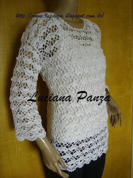 Ажурный пуловер крючком. Схема узора. (3 фото) - картинка