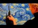 Живопись маслом. Как нарисовать копию картины Ван Гога Звездная ночь ?