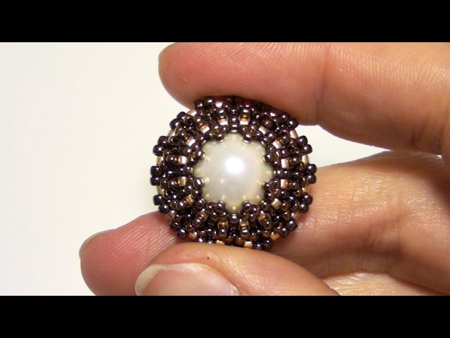 BeadsFriends: How to bezel a pearl using Seed beads and Delica beads   Beading Tutorial