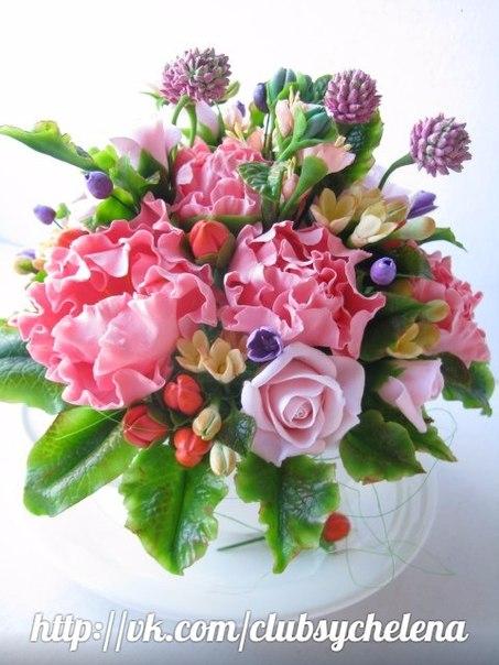 Композиция цветов из полимерной глины и холодного фарфора:… (3 фото) - картинка