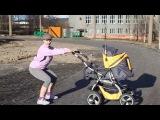 Fitness with a pram . Exercises for buttocks. Фитнес с коляской. Упражнения для ягодиц.