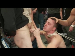 Gay ass gets spanked while mouth sucks hard cocks in deep blowjob sex in public gangbang sex