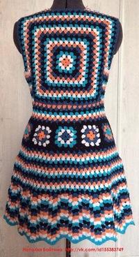 Бабушкин квадрат крючком схемы юбка