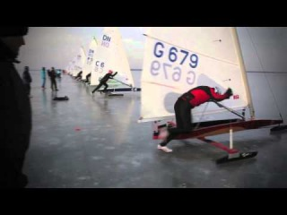 Speed at over 35 knots on ice  footage from the DN Ice Yachting Worlds 2014