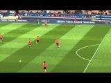 Разминка игроков ПСЖ (Warm up before the match: David Luiz, Cavani)