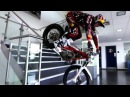 Trial Bike Stunts Through Red Bull Factory ★ Dougie Lampkin ★ Freestyle Motorcycle Fun