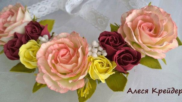 Колье цветы из фоамирана мастер класс
