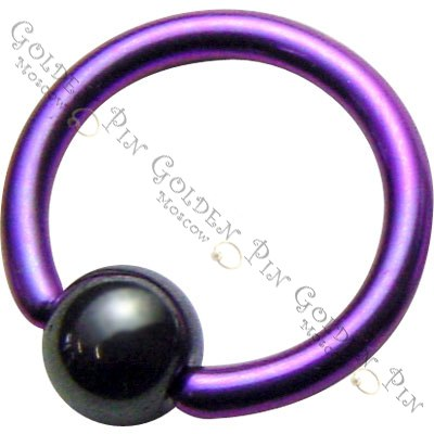 Titanium Ball Close Ring with gematit ball. Titanium G23 piersing. Зажимное кольцо из титана G23