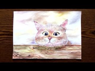 Быстрое Рисование | Соседский Кот 😾 | Акварель