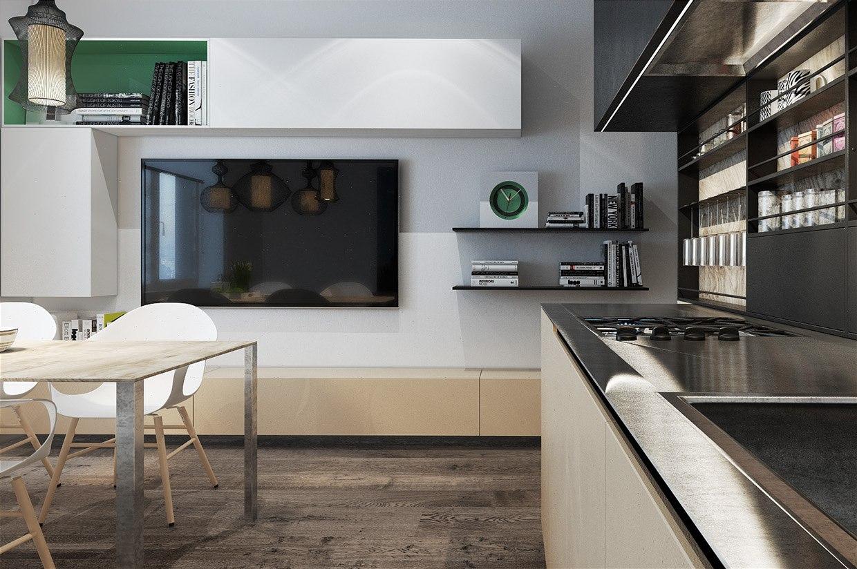 Интересный вариант планирования прямоугольной студии 39 м: между кухней и с/у разместилась маленькая спальня.