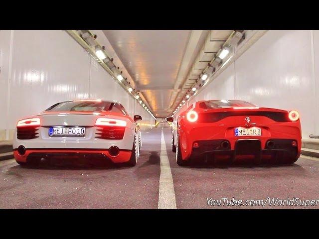 Ferrari 458 Speciale vs Audi R8 INSANE Straight Pipes REV BATTLE!
