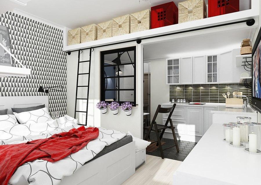 Очаровательный концепт небольшой квартиры-студии 25 м для молодой семейной пары на бюджет примерно 500 тысяч рублей.