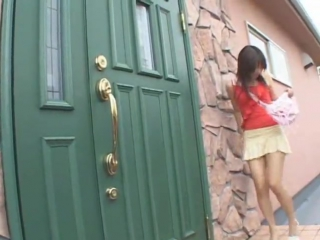 Japanese+Young+Girl+Trickles+on+Doorstep+in+Red+Blouse+and+Cream+Rara+Skirt