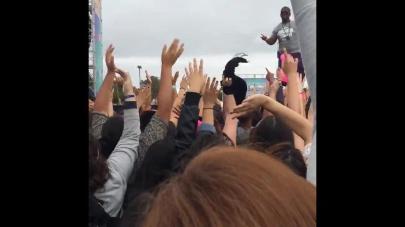 Fan taken (@haiirramiller) video of WhereAreUNow being played at the Wango Tango pre-show just minutes ago!