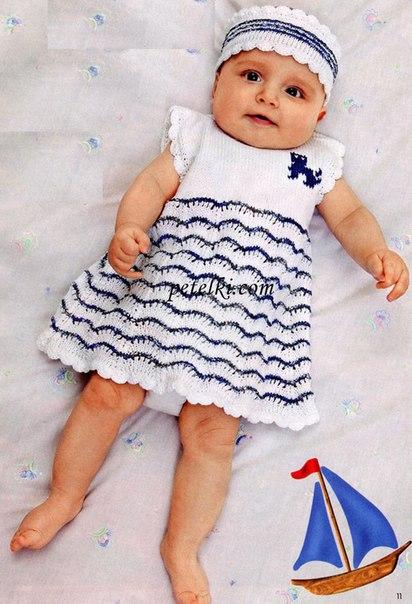 платье с волнистым узором и кокетливая повязка — наряд для праздников и семейных визитов…. (2 фото) - картинка