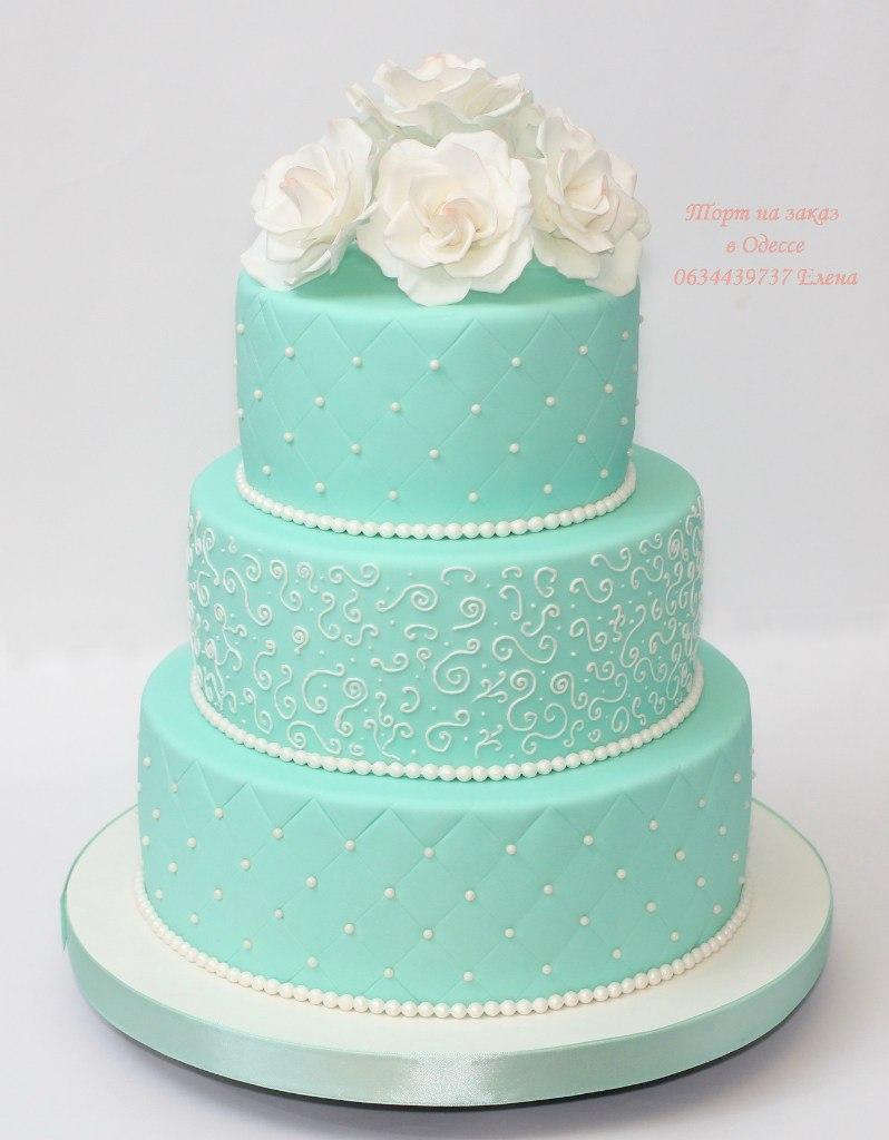 Торт в мятном цвете свадебный