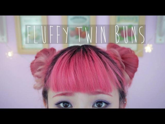 Fluffy Twin Sock Bun Tutorial For Short Hair » Freewka.com - Смотреть онлайн в хорощем качестве