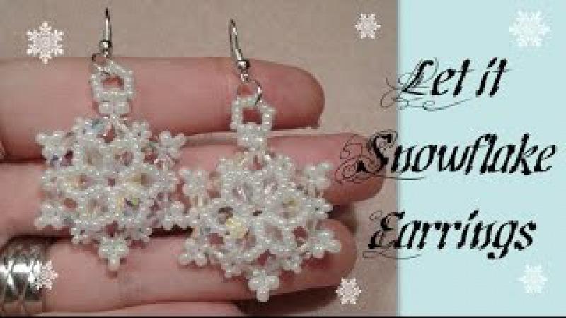 Let it Snowflake Earrings Beading Tutorial by HoneyBeads1 (Christmas jewelry)