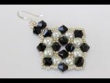 Pearls and Crystals Earrings. Серьги из бисера жемчуга и кристаллов