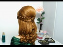 Romantic hairstyle for long hair with french braids