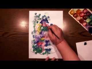 Быстрое Рисование | Техника Монотипия | Девушка с Букетом | Гуашь