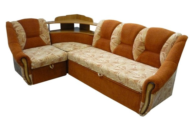 Фото угловой диван с полками