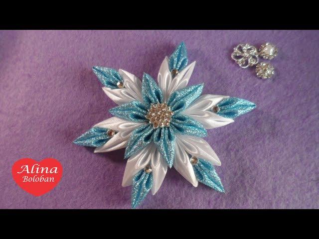 Новогодняя Снежинка Канзаши на Универсальном Креплении D.I.Y Christmas Snowflake