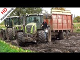Harvesting mais in the mud Claas Jaguar Axion Xerion New Holland T7070 NL.