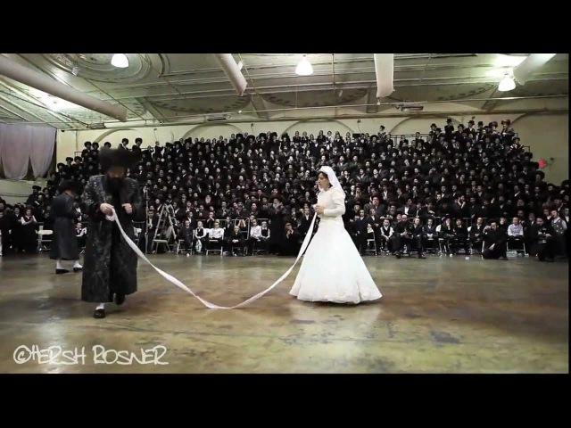 Bobov Rebbe Shlita dancing Mitzva Tantz at Wedding