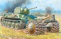 Сборная модель. танк т-34/76 с минным тралом, Звезда