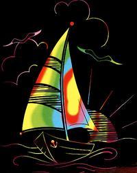 """Гравюра с цветной основой для самых маленьких """"кораблик"""", LORI"""