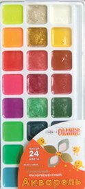 """Краски акварельные, 24 цвета """"оранжевое солнце"""", Гамма"""