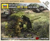 """Сборная модель """"британская противотанковая пушка qf-2-pdr с расчетом"""", Звезда"""