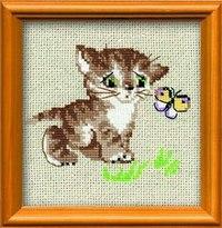 """Набор для вышивания """"котенок с бабочкой"""", Сотвори Сама"""