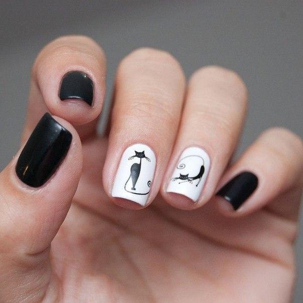 Чёрно белый дизайн гель