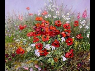 Poppies by Tetiana Korobeinyk. Silk ribbon embroidery.