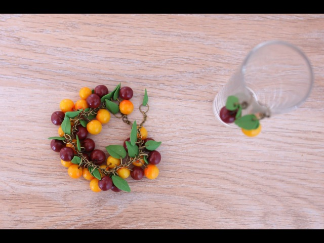 Браслет с черешней из полимерной глины FIMO - мастер-класс лепка кулинарная миниатюра