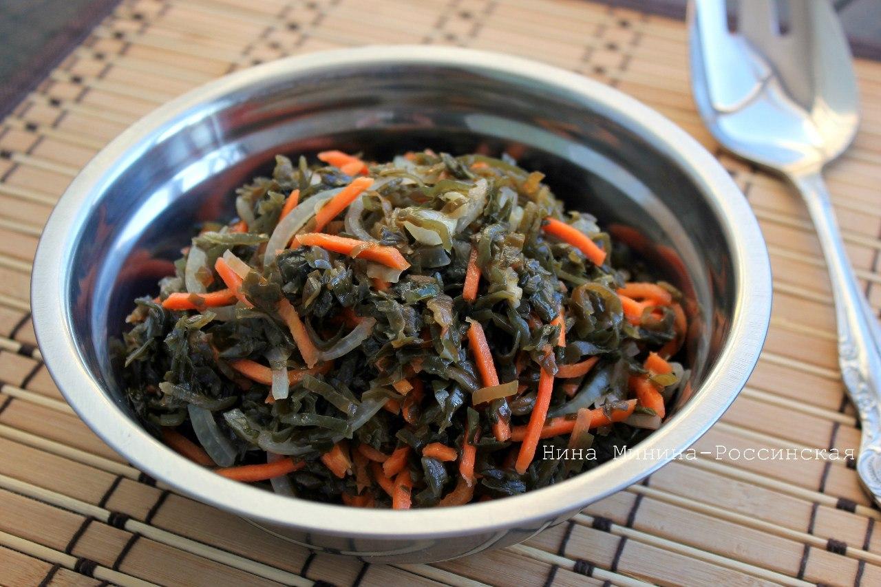 салат из морской капусты и моркови по корейски