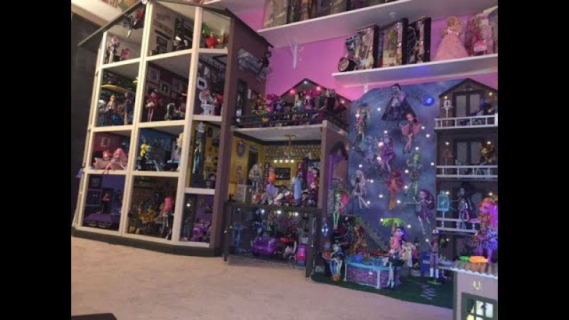 Monster High Dollhouse Tour 40Rooms43Beds200 MH Doll School House Mansion Dorm Video Collection RV