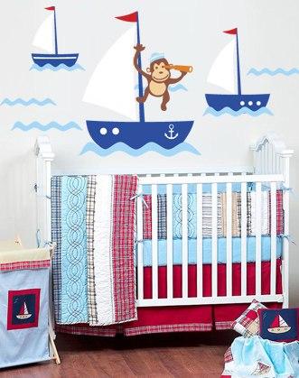 наклейка кораблики фото, наклейка для морского интерьера фото, наклейка для детской в морском стиле фото, морская наклейка для детской фото