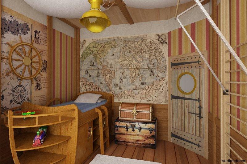 комната в морском стиле фото, детская в морском стиле фото, морской стиль в интерьере фото, карта в интерьере фото
